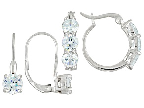 White Cubic Zirconia Rhodium Over Sterling Silver Earrings 7.00ctw