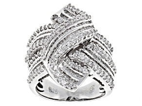 White Cubic Zirconia Rhodium Over Sterling Silver Ring 3.99ctw