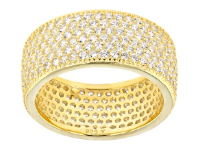 White Cubic Zirconia 18k Yellow Gold Over Silver Ring 3.60ctw