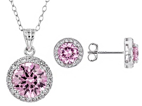 Pink And White Cubic Zirconia Rhodium Over Sterling Silver Jewelry Set 5.20ctw