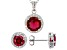 Red And White Cubic Zirconia Rhodium Over Sterling Silver Jewelry Set 5.20ctw