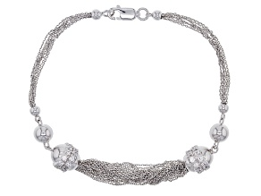 White Cubic Zirconia Rhodium Over Sterling Silver Bracelet .66ctw