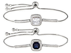 Blue And White Cubic Zirconia Rhodium Over Sterling Silver Bracelets 5.30ctw