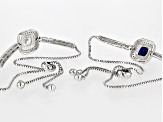Blue Synthetic Spinel And White Cubic Zirconia Rhodium Over Sterling Silver Bracelets 5.30ctw
