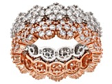 White Cubic Zirconia 18k Rose Gold Over Silver And Rhodium Over Sterling Rings 3.40ctw