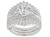 White Cubic Zirconia Rhodium Over Sterling Silver Ring With Guard 5.35ctw
