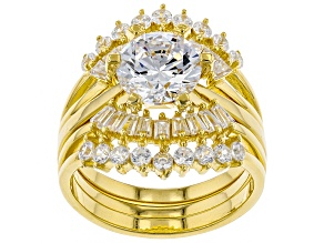 White Cubic Zirconia 18k Yellow Gold Over Sterling Silver Ring With Guard 5.80ctw