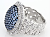 Lab Blue Spinel And White Cubic Zirconia Rhodium Over Sterling Silver Ring 3.85ctw