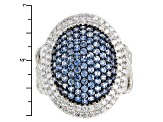 Blue Created Spinel And White Cubic Zirconia Rhodium Over Sterling Silver Ring 3.85ctw