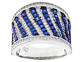 Blue Created Spinel And White Cubic Zirconia Rhodium Over Sterling Silver Ring 2.60ctw