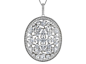 White Cubic Zirconia Rhodium Over Sterling Silver Pendant With Chain 12.95ctw
