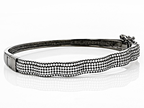 White Cubic Zirconia Black Rhodium Over Sterling Silver Bracelet 2.80ctw