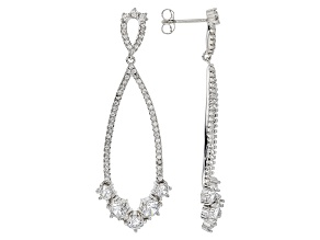 White Cubic Zirconia Rhodium Over Sterling Silver Earrings 4.63ctw