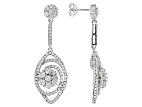 White Cubic Zirconia Rhodium Over Sterling Silver Earrings 4.29ctw