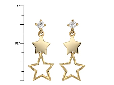 White Cubic Zirconia 14k Yellow Gold Earrings .06ctw