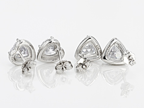 White Cubic Zirconia Rhodium Over Sterling Silver Earrings 5.08ctw