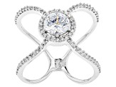 White Cubic Zirconia Rhodium Over Sterling Silver Ring 1.38ctw