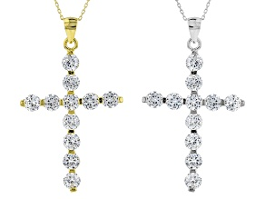 White Cubic Zirconia Rhodium And 18k Yellow Gold Over Sterling Silver Pendant With Chain Set 5.20ctw