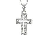 White Cubic Zirconia Rhodium Over Sterling Silver Pendant With Chain And Earrings 1.20ctw