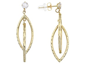 White Cubic Zirconia 14k Yellow Gold Earrings .50ctw