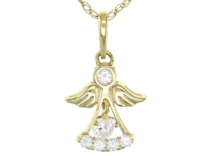 White Cubic Zirconia 10k Yellow Gold Angel Pendant With Chain .23ctw