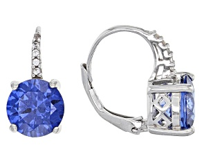 Blue And White Cubic Zirconia Rhodium Over Sterling Silver Earrings 4.60ctw