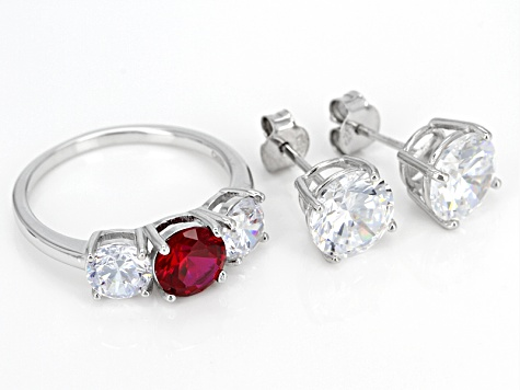 Red Synthetic Ruby And White Cubic Zirconia Rhodium Over Sterling Ring And Earrings 14.80ctw