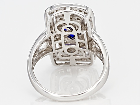 Lab Blue Spinel And White Cubic Zirconia Rhodium Over Sterling Silver Ring 1.40ctw
