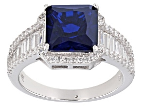 Blue Created Spinel And White Cubic Zirconia Rhodium Over Sterling Silver Ring 8.35ctw