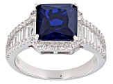 Lab Blue Spinel And White Cubic Zirconia Rhodium Over Sterling Silver Ring 8.35ctw