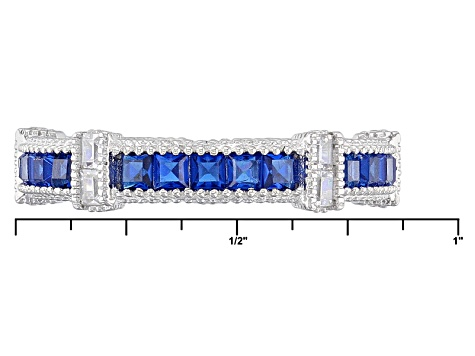 Created Ruby/Synthetic Blue Spinel/White Cubic Zirconia Rhodium Over Sterling Rings 6.00ctw