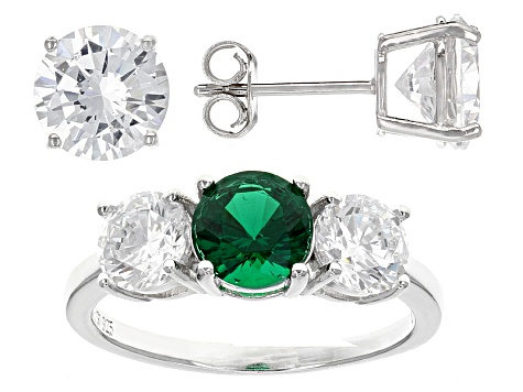14.80ctw Emerald And White Cubic Zirconia Rhodium Over Sterling Ring And Earrings