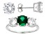 Green And White Cubic Zirconia Rhodium Over Sterling Silver Jewelry Set 14.80ctw