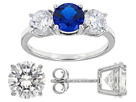 Lab Blue Spinel And White Cubic Zirconia Rhodium Over Sterling Ring And Earrings 14.80ctw