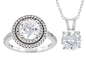 White Cubic Zirconia Rhodium Over Sterling Silver Pendant With Chain And Ring 6.00ctw