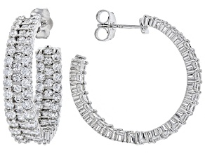 White Cubic Zirconia Rhodium Over Sterling Silver Earrings 12.50ctw