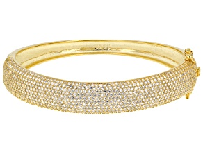 White Cubic Zirconia 18k Yellow Gold Over Sterling Silver Bracelet 7.02ctw