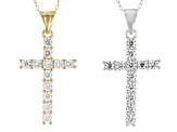 White Cubic Zirconia 18k Yellow Gold Over Sterling/Rhodium Over Sterling Pendant With Chain Set Of 2