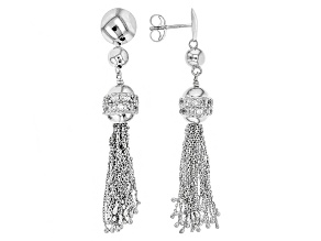 White Cubic Zirconia Rhodium Over Sterling Silver Earrings .84ctw
