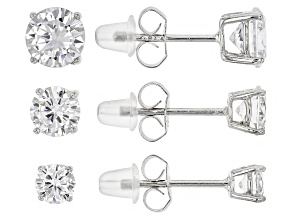 White Cubic Zirconia Rhodium Over Sterling Silver Earrings Set Of 3 6.00ctw