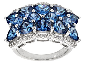 Blue And White Cubic Zirconia Rhodium Over Sterling Silver Ring 9.45ctw