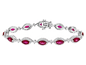 Red And White Cubic Zirconia Rhodium Over Sterling Silver Bracelet 11.16ctw