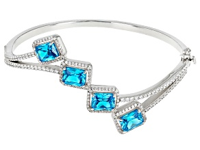 Blue And White Cubic Zirconia Rhodium Over Sterling Silver Bracelet 13.37ctw