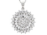 White Cubic Zirconia Rhodium Over Sterling Silver Pendant With Chain 3.59ctw