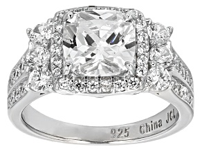 White Cubic Zirconia Rhodium Over Sterling Silver Ring 6.67ctw