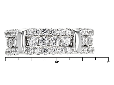 White Cubic Zirconia Rhodium Over Sterling Silver Ring With Guard 4.84ctw