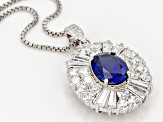 Blue And White Cubic Zirconia Rhodium Over Sterling Silver Pendant With Chain 8.58ctw