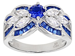 Lab Blue Spinel And White Cubic Zirconia Rhodium Over Sterling Silver Ring 2.60ctw