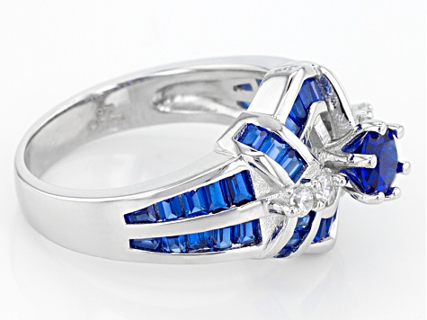 Lab Blue Spinel And White Cubic Zirconia Rhodium Over Sterling Silver Ring 1.95ctw