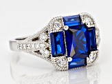 Blue And White Cubic Zirconia Rhodium Over Sterling Silver Ring 3.06ctw